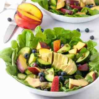 Sweet stone fruit, creamy avocados, and crisp cucumbers drizzled with a smoky dressing make a superb summertime salad. |www.flavourandsavour.com