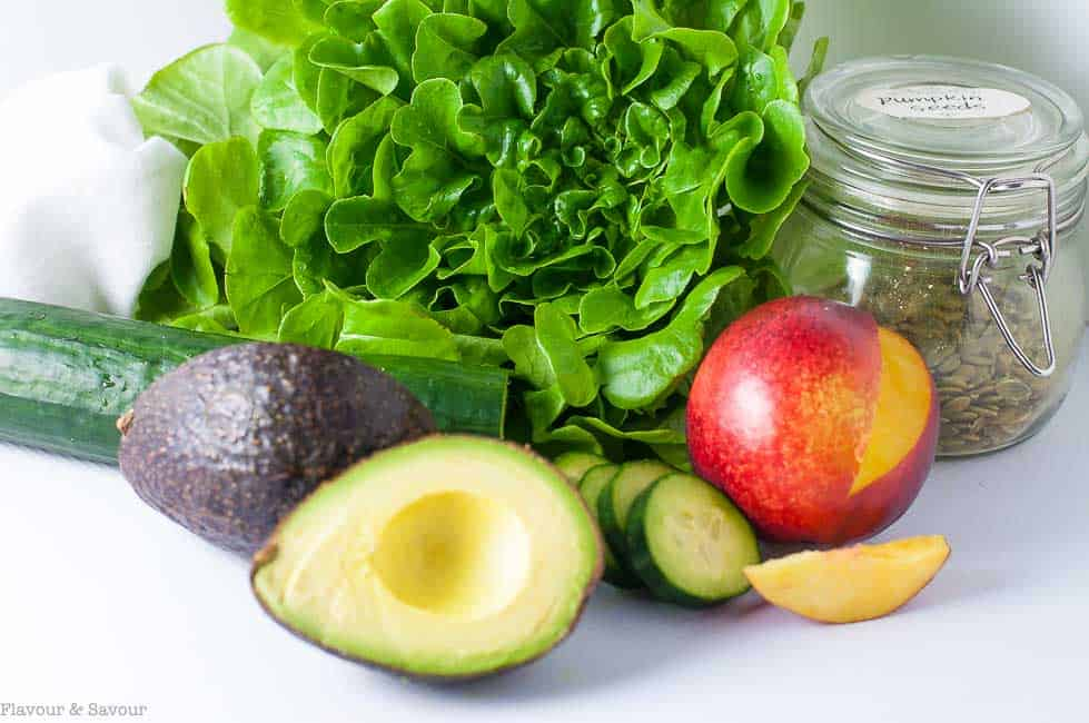 ingredients for Nectarine Avocado Salad with Smoked Paprika Dressing