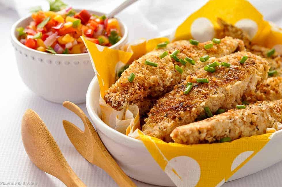 Crispy Cajun Chicken Strips with Nectarine Salsa