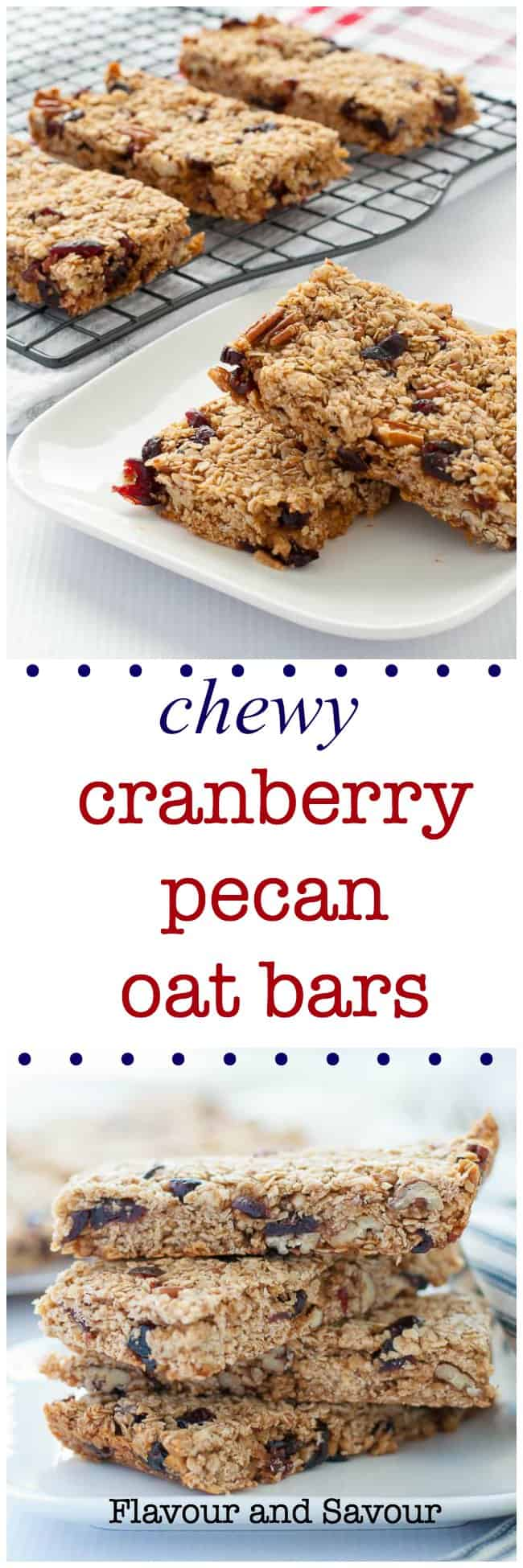 These Chewy Cranberry Pecan Oat Bars are naturally sweetened with honey and coconut palm sugar. They're a perfect make-ahead granola bar as they freeze well. Great for lunches.