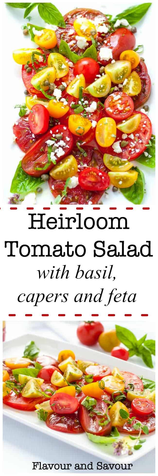 Basil, capers and feta cheese enhance the natural flavours of late-summer tomatoes in this simple recipe for Heirloom Tomato Salad.