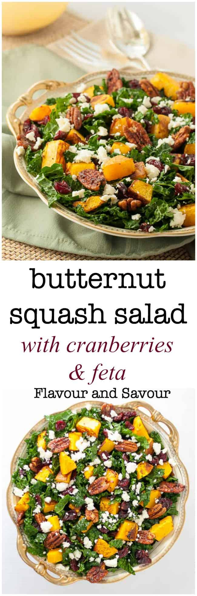 Rich autumn flavours and rustic warm colours make this Butternut Squash Salad with kale, cranberries and feta a favourite choice for fall or winter!