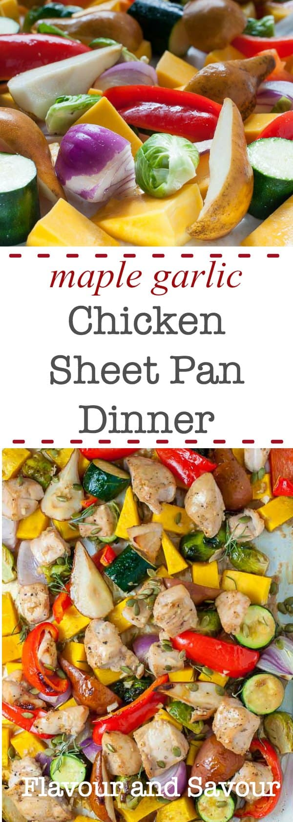 A family-friendly chicken sheet pan dinner that's paleo compliant too. Made with chicken breasts, butternut squash and seasonal vegetables, all on one pan. #sheetpan #paleo