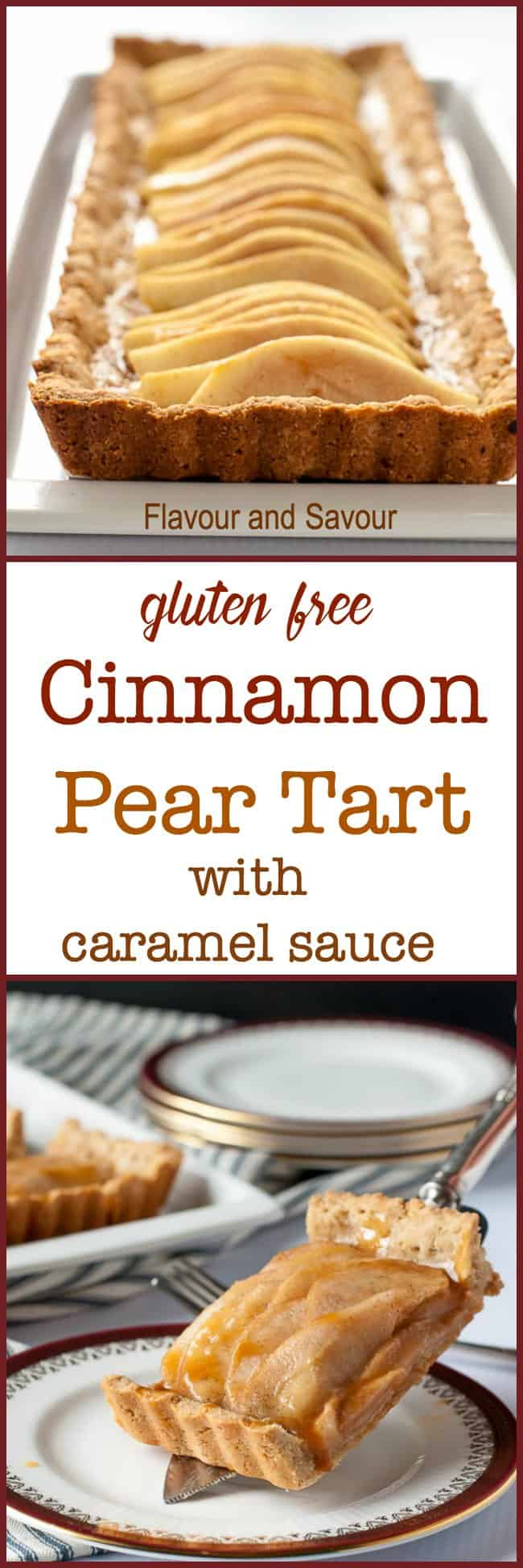 This Gluten-Free Cinnamon Pear Tart is made with a tender almond flour and oat flour crust, sweetened with maple syrup and drizzled with caramel sauce. #GlutenFree #pear #tart #caramel #AlmondFlour