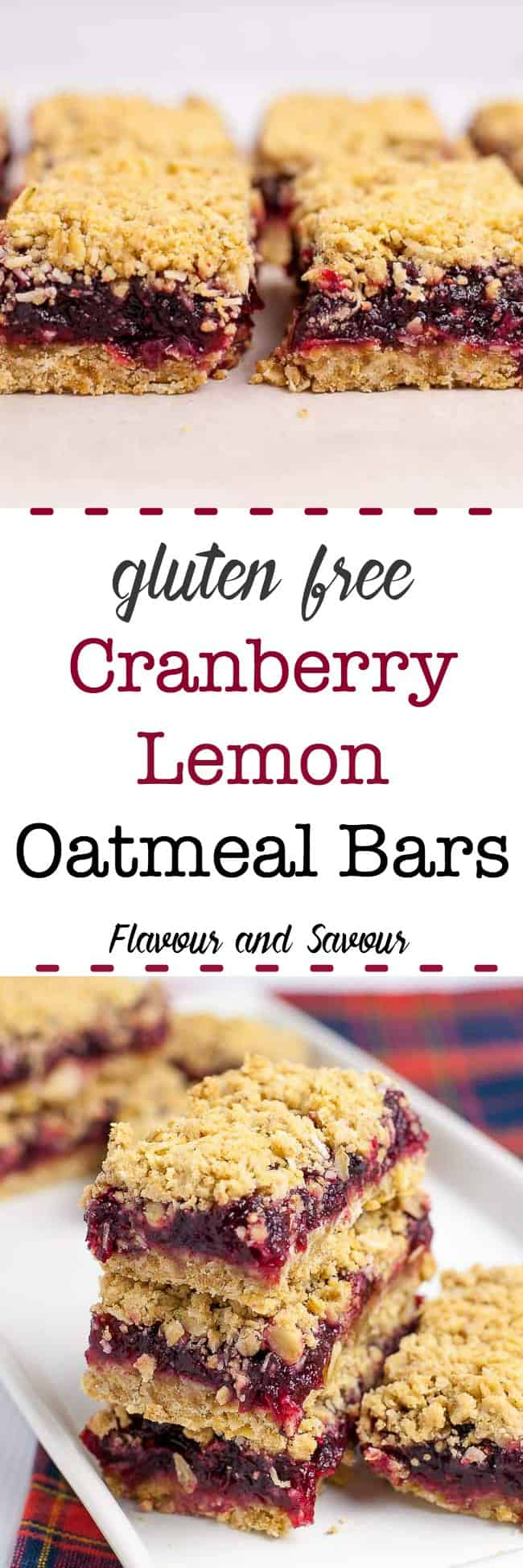 These gluten-free cranberry lemon oatmeal bars have just the right amount of sweetness, a buttery oatmeal base, and a crumbly coconut topping that puts them over the top. #glutenfree #cranberry #oatmeal #squares