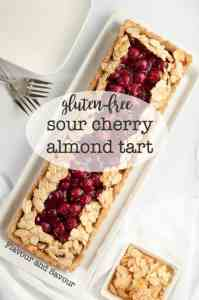 This Sour Cherry Almond Tart is gluten-free, just sweet enough, and perfect for a holiday party. Easy 3-step recipe.  www.flavourandsavour.com