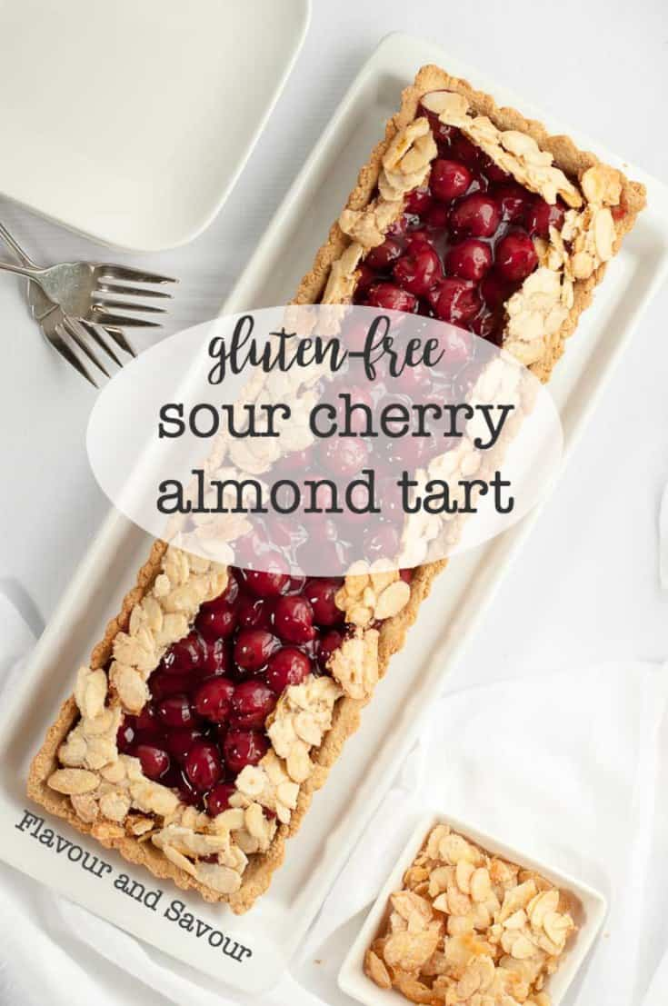 This Sour Cherry Almond Tart is #gluten-free, it's just sweet enough, and it's an easy dessert to make for your next party! A simple 3-step #recipe made with an #almondflour and oat flour crust and jarred sour #cherries.