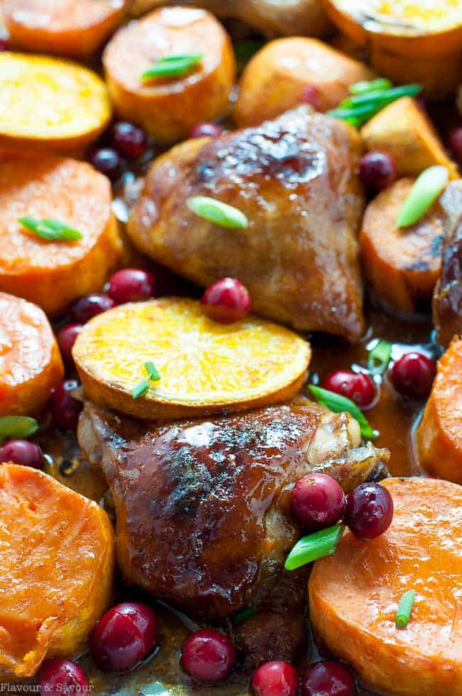 Hoisin Orange Sheet Pan Chicken with Sweet Potatoes