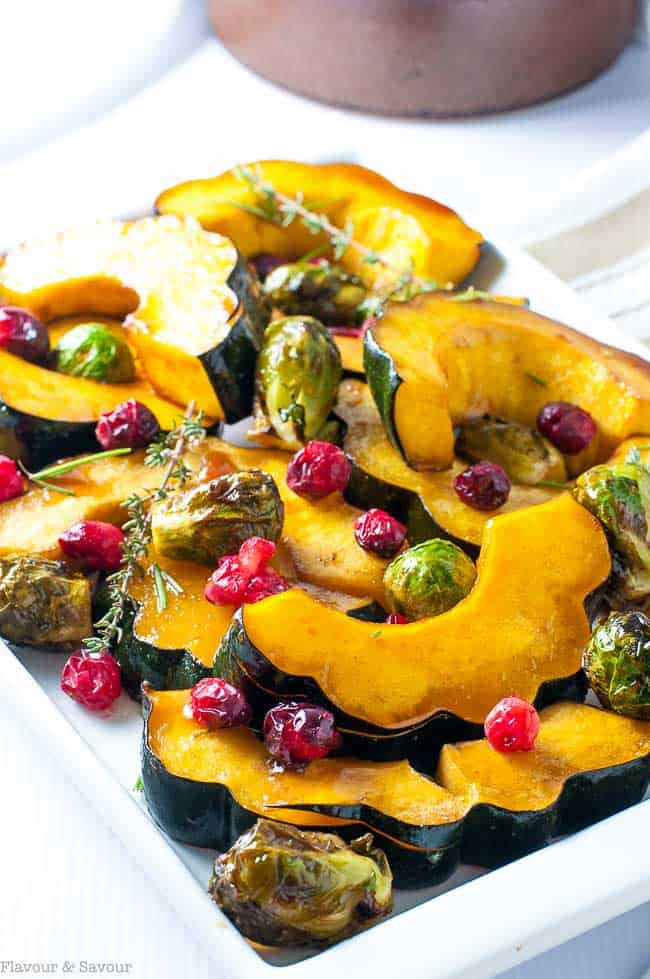 Honey Balsamic Roasted Acorn Squash with Brussels Sprouts and cranberries