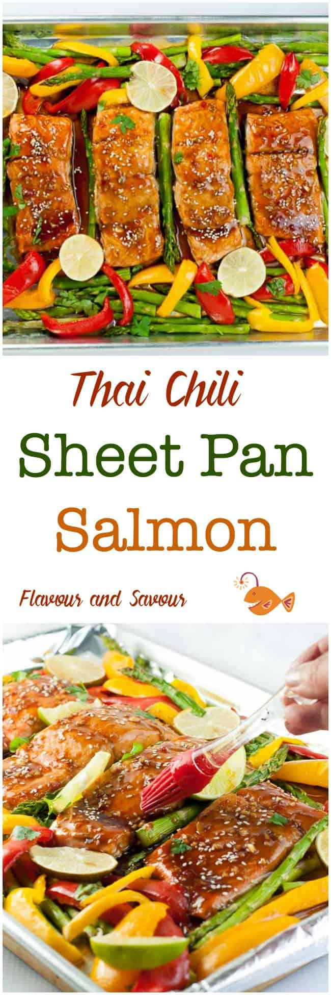 What's not to love? This Thai Chili Sheet Pan Salmon needs minimal preparation, easy clean-up, and a healthy, flavourful supper all baked on one pan in less than 20 minutes. #SheetPan #salmon #asparagus #peppers