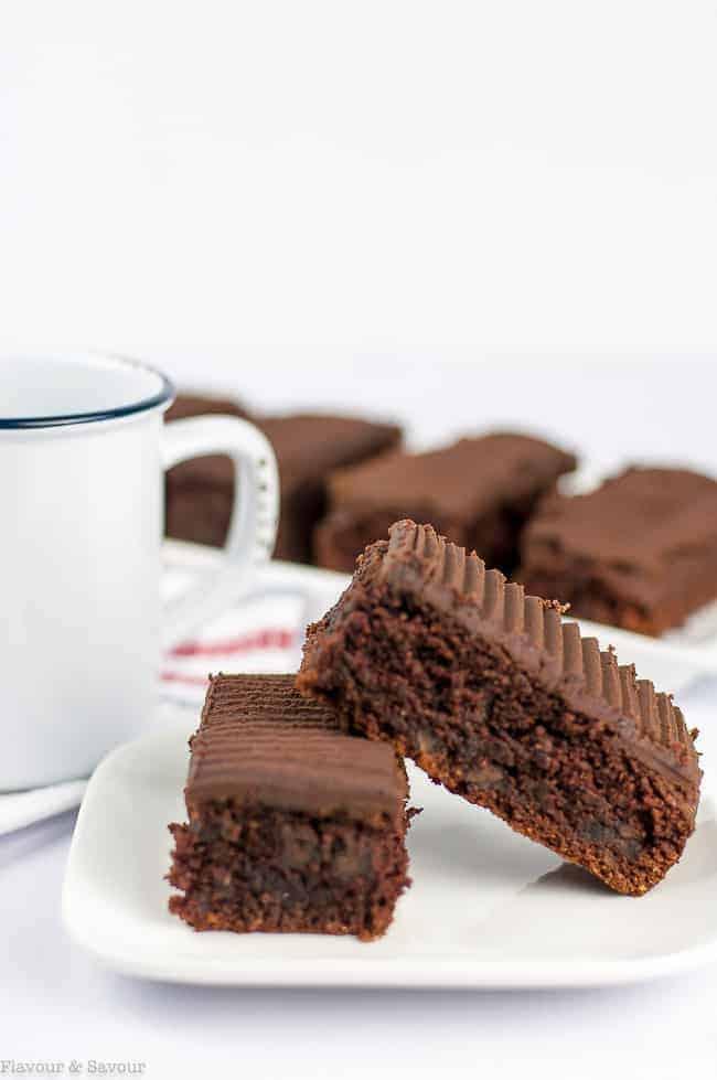 Grain-Free Amaretto Brownies with Chocolate Ganache