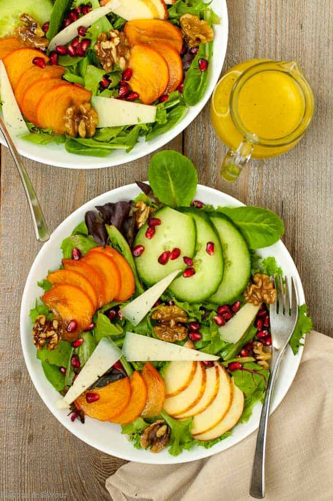 Persimmon Pomegranate Salad with Maple Walnuts, Manchego Cheese and Honey Dijon Dressing