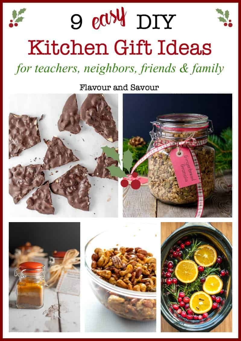 If you're searching for ideas for homemade gifts, try these DIY Easy Kitchen Gift Ideas. Nut mixes, chocolate, spice mix, biscotti, potpourri, and more! #Homemade #Christmas #gifts #DIY #teachergift #neighborgift
