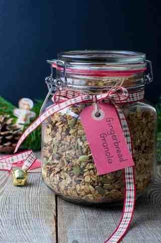 Gingerbread Spiced Granola in jar for gift