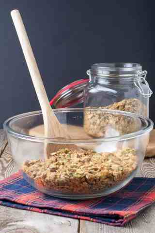 Gingerbread Spiced Granola in mixing bowl