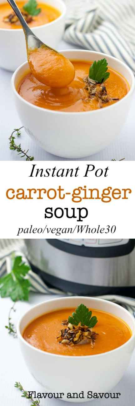 Quick and easy Instant Pot Carrot Ginger Soup with apple #instantpot #soup #plaeo #vegan #whole30