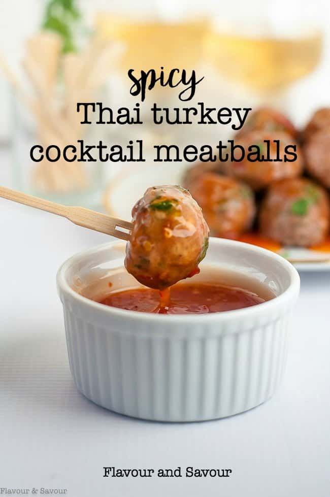 These spicy Thai Turkey Cocktail Meatballs are quick to mix, baked in the oven and served with Sweet Thai Chili Sauce for dipping. Great party food for any time of year. #Thai #cocktail #meatballs #appetizer #paleo