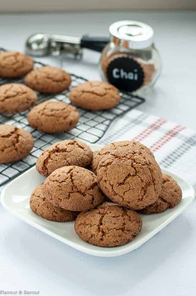 These Gluten-Free Chai Spiced Snickerdoodles have a soft and chewy center and slightly crispy edges with hints of warm chai spices. Made with coconut sugar, they have a lower glycemic index than cookies made with granulated sugar. #glutenfree #coconutsugar #chai #cookies