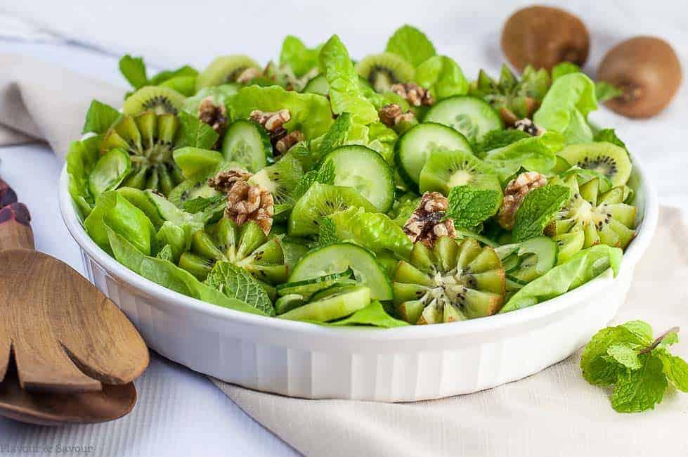 Kiwi Cucumber Salad with Walnuts and Fresh Mint salad servers