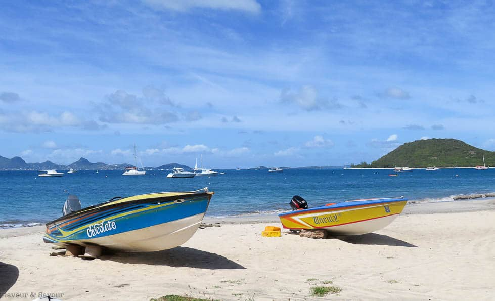Boats on the Beach on Petite Martinique Island