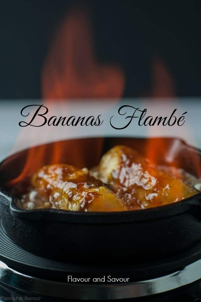 A simple but spectacular flaming dessert, Caribbean Rum Bananas Flambé with Amaretto is easy to make. Follow these tips to serve it safely with style! #bananas #flaming #flambeau #flambé #havana_rum #dessert
