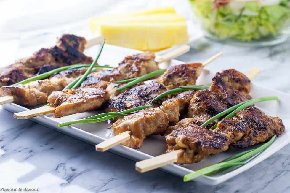 Ginger-Garlic Glazed Korean Chicken Skewers