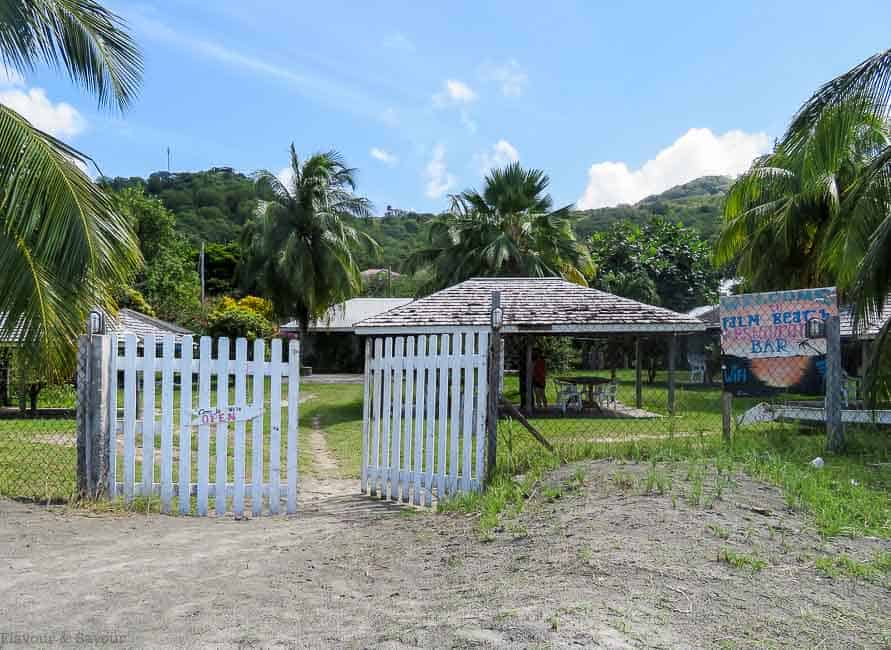 Entrance to Palm Beach Restaurant and Bar on Petite Martinique St. Vincent and the Grenadines