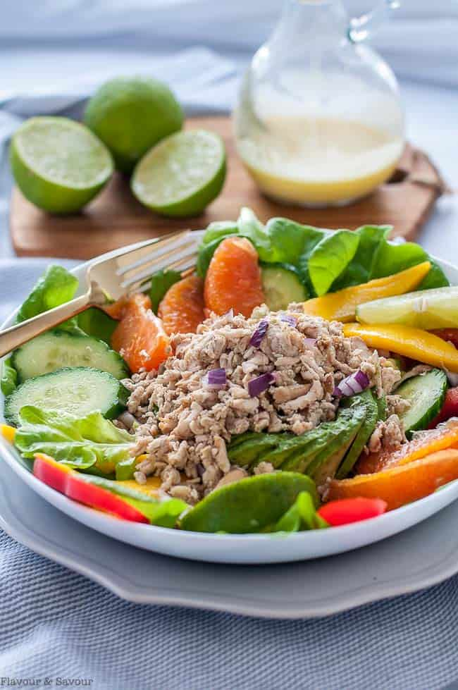 Caribbean Shredded Jerk Chicken Salad in a bowl
