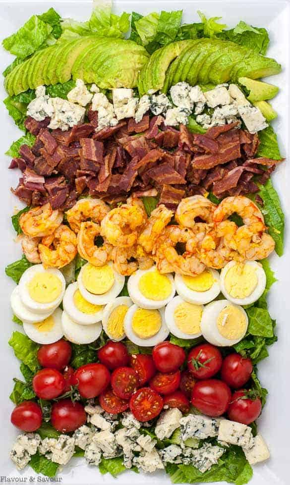 Lemon Garlic Shrimp Cobb Salad on a large platter