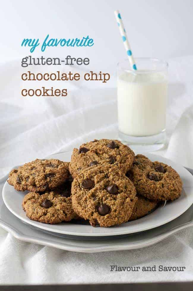 My Favourite Gluten-Free Chocolate Chip Cookies. They're grain-free, made with almond flour, coconut flour, coconut sugar, and studded with lots of chocolate chips! Crisp on the outside, soft and chewy inside. Perfection. #grainfree #glutenfree #chocolate_chip #cookies #almondflour #coconutflour #coconutsugar