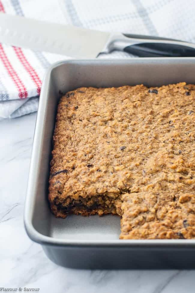 Chocolate Cherry Chia Oatmeal Bars in a baking pan