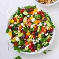 Marinated Lemon Chicken Greek Salad with Mint