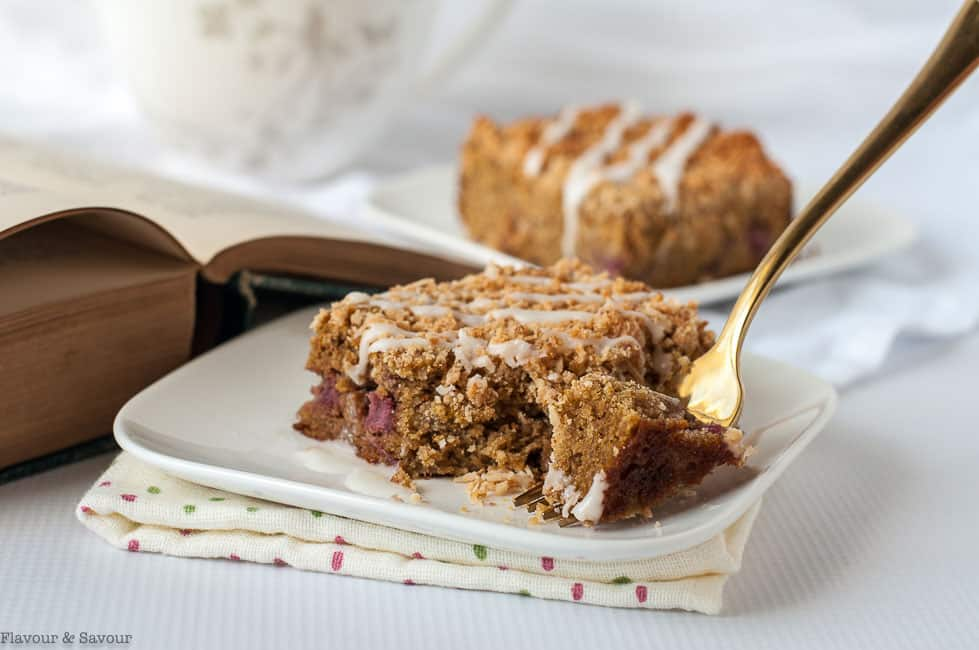 Taking a bite of Paleo Strawberry Rhubarb Coffee Cake