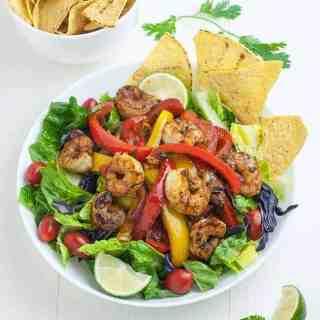 Shrimp Fajita Salad with Honey Lime Vinaigrette overhead view