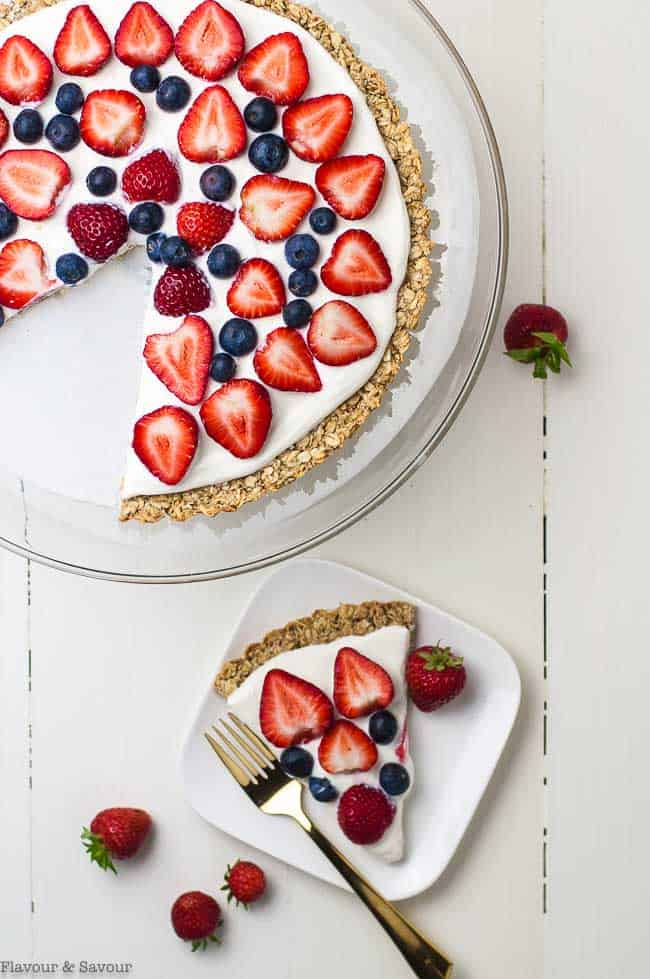 Gluten Free Fruit Pizza with slice overhead view