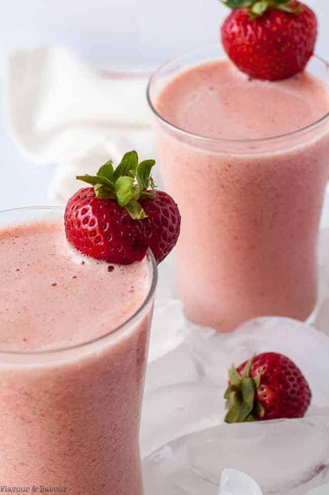 Strawberry Watermelon Collagen Smoothie garnished with fresh strawberries.