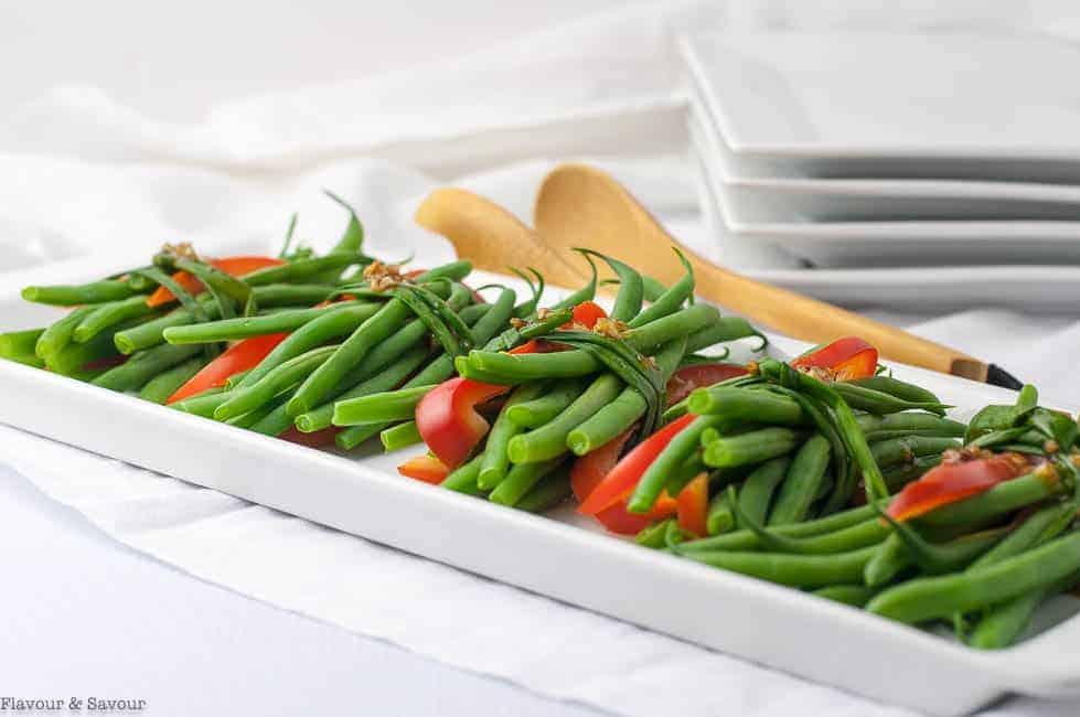 Vegetarian Green Bean Bundles with Garlic butter
