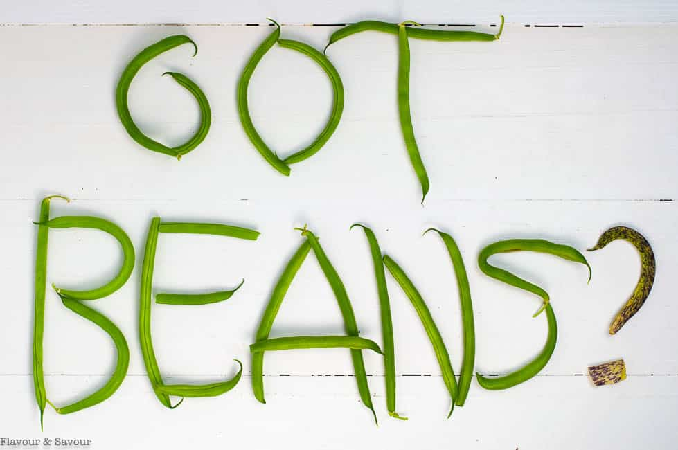 Got Beans lettering made with green beans