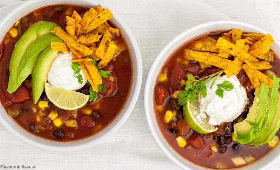 Slow Cooker Vegan Texas Black Bean Soup overnhead view