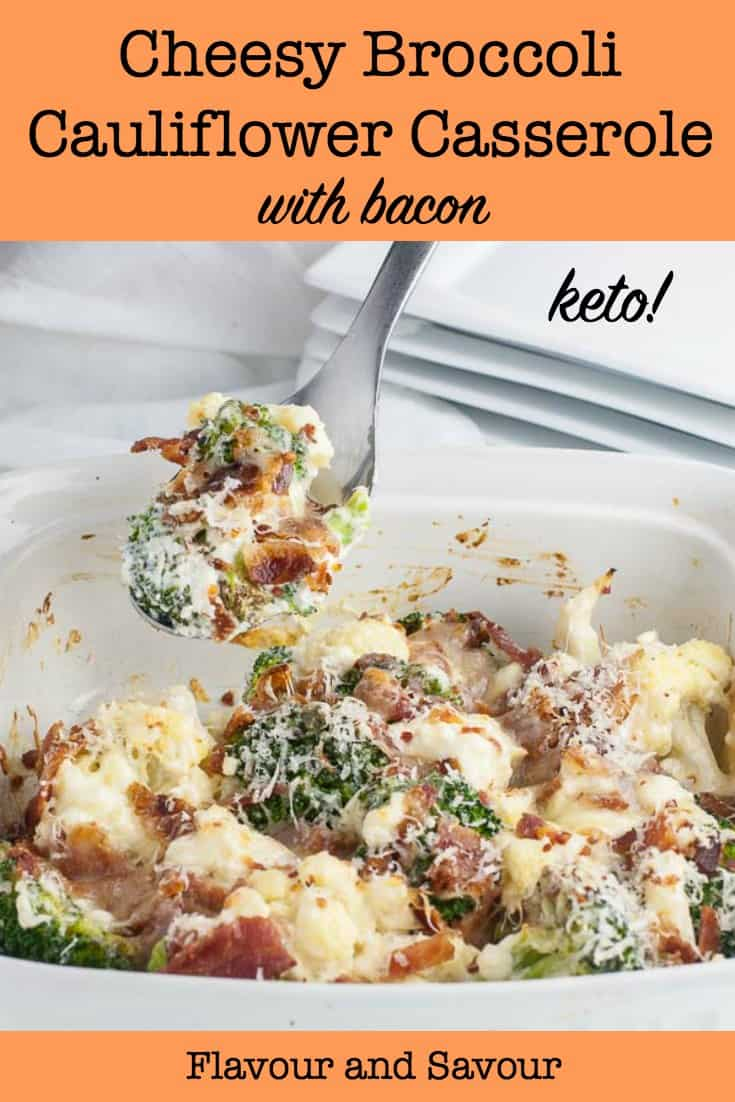 Keto Cheesy Broccoli Cauliflower Casserole with Bacon pin