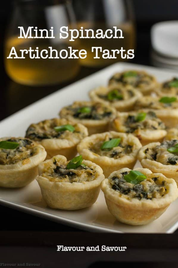 Mini Spinach Artichoke Tarts, one of 20 easy finger food appetizers on Flavour and Savour