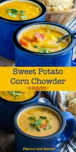Hearty Vegan Sweet Potato Corn Chowder pin