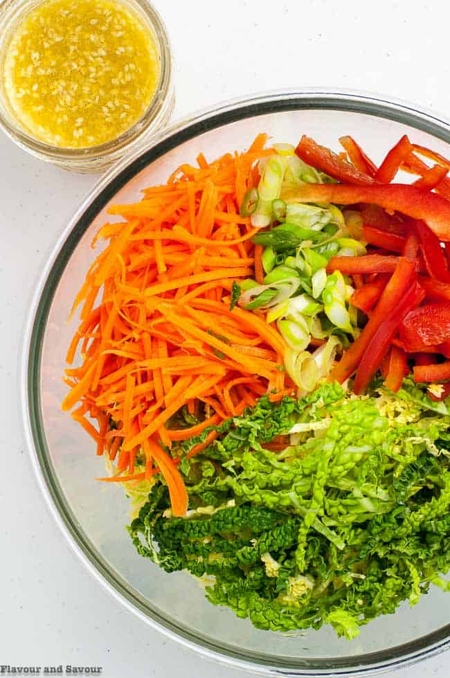 ingredients for Crunchy Cabbage Coleslaw with Sesame Miso Dressing