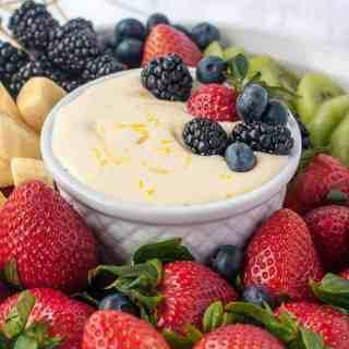 Creamy Lemon Curd Fruit Dip with berries