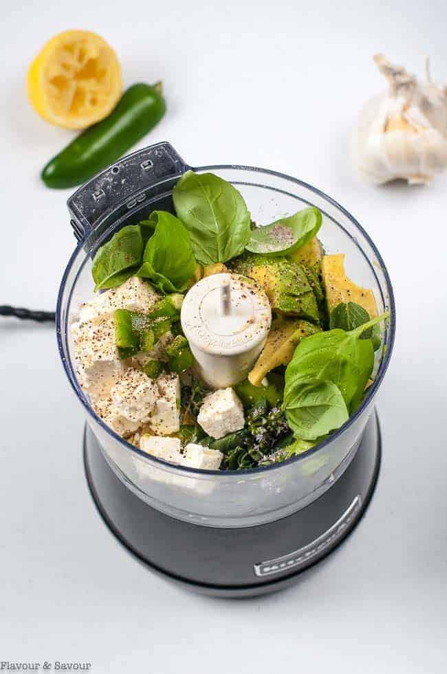 Ingredients for Avocado Dip in food processor