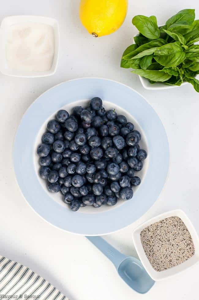 Ingredients for Blueberry Basil Chia Seed Jam