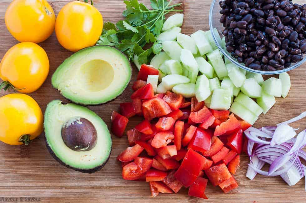 Ingredients for Tomato Avocado Black Bean Salad