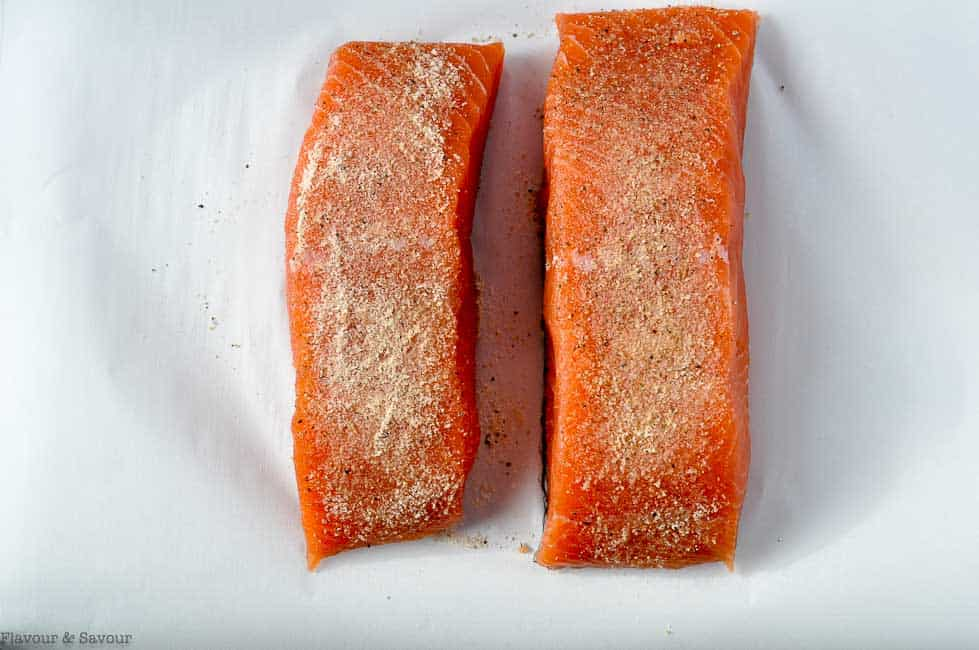 Sprinkling rub ingredients for Mandarin Miso Glazed Salmon