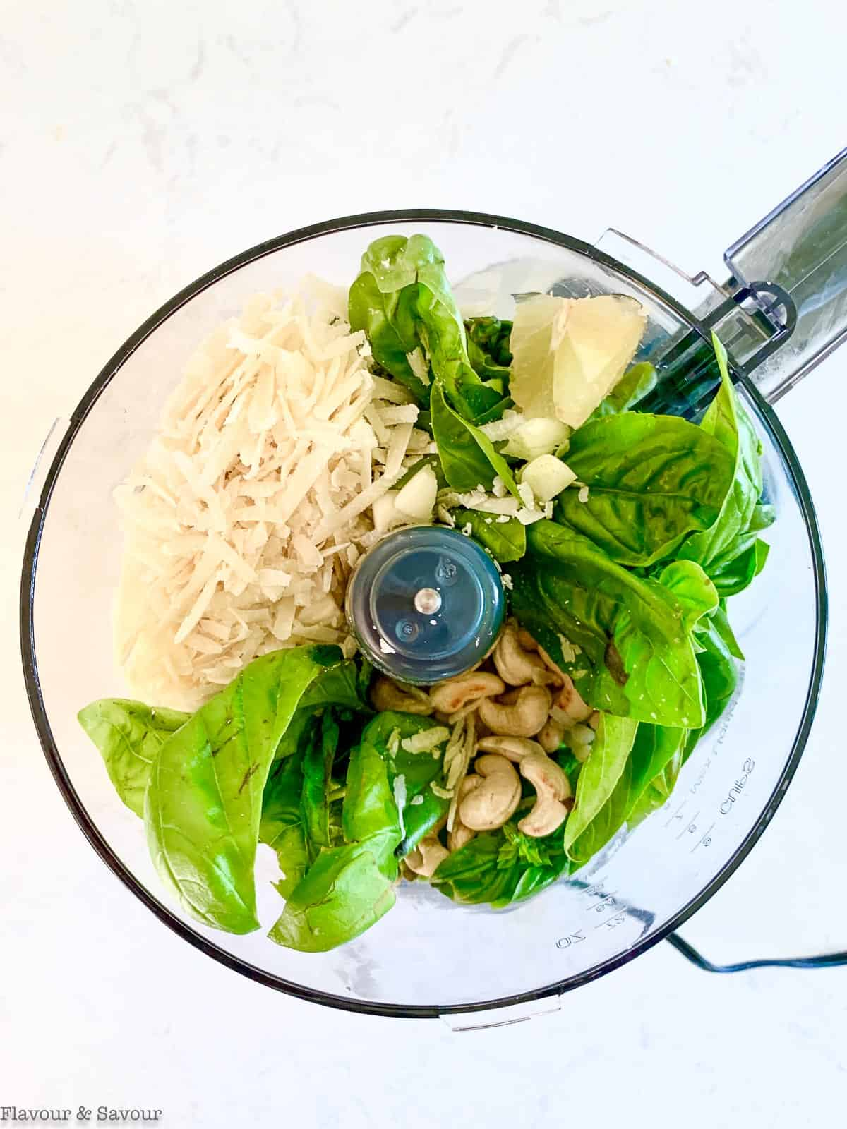 Basil pesto ingredients in food processor bowl