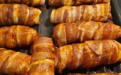 Bacon & Chicken Wrapped Mozzarella Sticks with Bloody Mary Jam Glaze